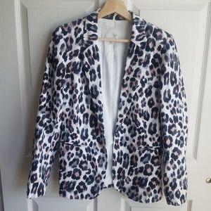 Joie White Animal Print Linen Mehira Blazer Size 6